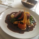 Cotswold Roe Deer loin with vegetables, Vanilla and DARK CHOCOLATE