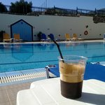 Morning frappa by the pool