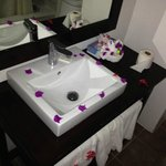 Petals on the sink at check in - nice touch