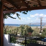 View from inside terrace of Room 14 over to Paros