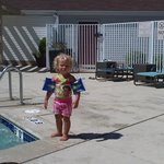 Having fun at the pool.