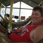sitting in the hammock area enjoing a beer and the fantastic sea view