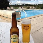 enjoying a local blonde beer by the pool 2nd Oct 13
