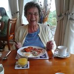 Mum enjoying the amazing breakfast meals.