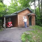 Our cabin with covered parking for the bike