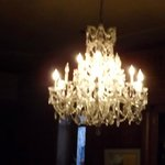 Just one of the several beautiful chandeliers  in the dining area.