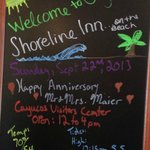 A sign in the lobby wished us a happy anniversary.