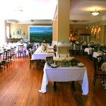 The lovely dining room of the Palate restaurant inside the Monte Vista hotel