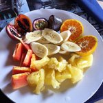 Beautiful fruit plate from the hotel restaurant