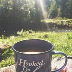 lovely morning drinking my coffee in the huge yard (also LOVED the cute mug!)