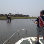 Fishing with elephant!
