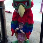 Our Granddaughter with Coco, the Parrot.