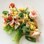 A delicious fresh prawn and mango salad