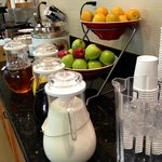 Breakfast selections (juice, coffee, tea, fruit, waffles, etc)