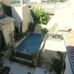 The pool and courtyard from above