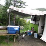 Our camper at Norris Point KOA in a lake/pond site.