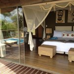 The bedroom and plunge pool