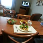 A yummy meal prepared right in the suite. Short walk to Target for fresh meats, fruits and all!