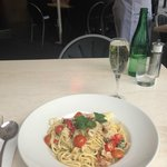 Linguine with Crab and chilli, glass of Tasmanian Sparkling