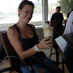Candi enjoying a piña colada at Latitudes.