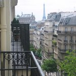 View of the Eiffel tower from the balcony of Hotel Palm Opera