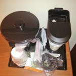 Coffee maker and Ice bucket as presented to guests