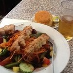 chicken skewer with garden salad, scone & beer $32.50