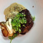 Eye fillet with Duck Potato and Oysters