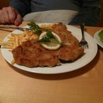 Huge plate of wienerschnitzel - can feed two