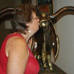 Kissing the Gladiator Bull for luck!