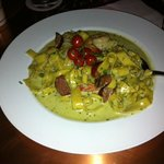 Shrimp, Sausage and Pasta with a pesto sauche