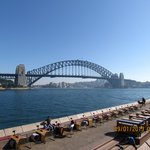 view of sydney harbour bridge from cafes near hotel