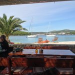 Sitting in a restaurant on another island (by water taxi)
