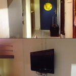 Room entrance and TV