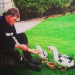 OWNER of Rainbow View feeding his ducks