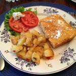Potatoes and Baked pancakes and fresh from the garden tomatoes.  All very good!
