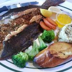 Broiled stuffed flounder