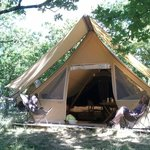 Safari-style tent at Huttopia - luxurious camping!