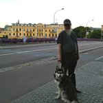 My dog and I in front of the Hotel