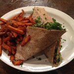 """Chicken"" wrap with sweet potato fries"