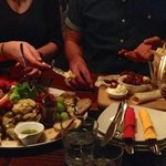 Huge platters with a sumptuous selection of antipasto