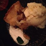 Homemade warm Apple Pie with vanilla ice cream