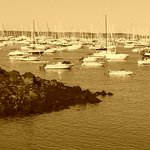 Harbor in sepia tone