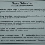 Breakfast menu - you make your choice the night before