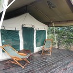 Our tent and its veranda, great for morning coffee!
