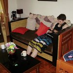 Josh Chilling on couch in lounge