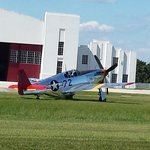 P-51 Mustang flown by the Tuskegee airmane taxiing for take off