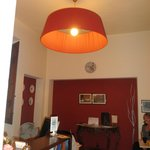 Reception area..with the worlds largest lampshade!