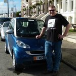 Our wonderful little SmartCar outside the hotel - a great find from SmartHire