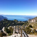 the view from the summit of Berneuse, looking toward Lac Leman, Montreux and Geneve in the dista